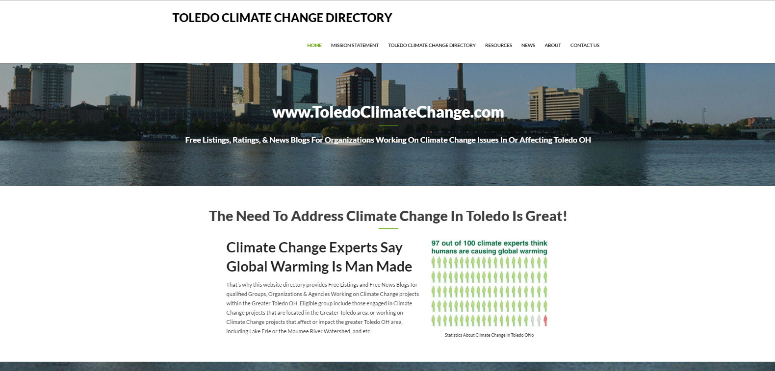 Toledo WordPress Website Design For Climate Change Directory